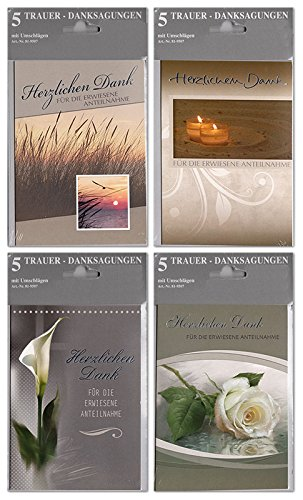 50 Trauerkarten Danksagungen 10x5er-Set Silberfolie Anteilnahme Grußkarten Klappkarten mit 50 Umschlägen 81-9507