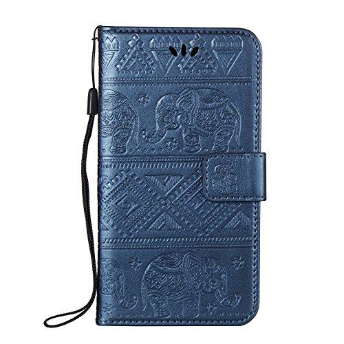Für Huawei Nova Premium Leder Schutzhülle, weiche PU / TPU geprägte Textur Horizontale Flip Stand Brieftasche Case Cover mit Lanyard & Card Cash Holder ( Color : Purple ) Blue