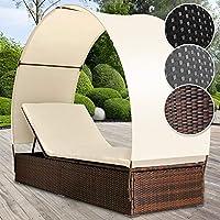 Polyrattan Sonnenliege   Für 1 Person Inkl. Kissen Und Sitzauflage Mit  Rückenlehnen Und Sonnendach,
