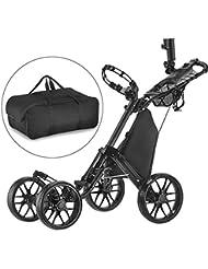 CaddyTek Klick-klappbar, 4Rad Version 3Golf Push cart-dark grau mit Aufbewahrungstasche