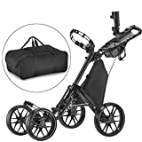CaddyTek one Klick-klappbar, golf trolleys 4 Rad Golf Push cart,golfwagen-mit lager - tasche,dark grau