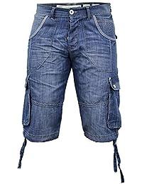 Hommes Crosshatch Wing 16 Revers Jeans Short Longueur Genou - Homme, Délavage clair, Tour de taille 91 cm