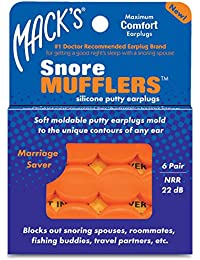 Mack's Snore Orange Mufflers, Pack of 6 Pairs (18 Pairs (3 Packs))