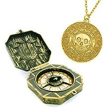 Pirata brújula juguete y collar con aztecas Aztecas de monedas de oro remolques pirata disfraces de Halloween Buccaneer Piratas del Caribe Piratas del Caribe Capitán pirata