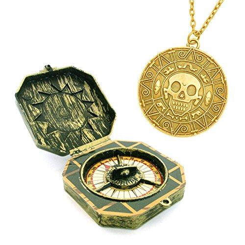 Piraten Spielzeug Kompass und Halskette mit Aztekengold Münze Azteken Anhänger für Pirat Kostüm Halloween Freibeuter Fluch der Karibik Seeräuber Karibik Pirat (Hut Karibik Piraten)