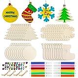 Hifot Ornamenti in Legno di Natale 40 Pezzi di 4 Forme, Fai da Te Natale Ciondolo Natale Pendente Articoli Natalizi addobbi per Alberi di Natale per Decorazioni Natalizie e Decorazioni per Feste