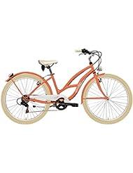 'Bicicleta Cicli Adriatica Cruiser de mujer, estructura de acero, rueda de 26, cambio Shimano de 6 velocidades, talla 45, melocotón