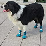 Semoss 4 Set Pet Supplies for Dogs Waterproof Dog Shoes Boots Protective Rain Boots Anti Slip Dog Paw Protectors Pet Shoes,Blue,Size:4.0 x 3.5 cm (L x