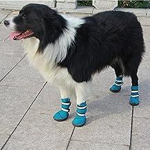Semoss 4 Set Perros Accesorios Zapatos Perro Impermeable Perro Botas Antideslizante Zapatos Botas Perro Calcetines Animal,Azul,Talla:5.5 x 4.9 cm (L x B)