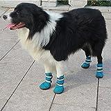 Semoss 4 Set Hunde Zubehör Haustier Schuhe Hunde Schuhe Pfotenschutz Boots Hunde Stiefel Wasserdicht,Blau,Größe:6.0 x 5.3 cm (L x B)