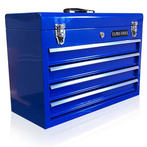 ORIGINAL US PRO TOOLS TOOL BOX TOOL CABINET 4 DRAWER HAND HELD TOOL CHEST PORTABLE BLUE by us pro tools