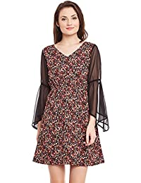 1eb6e503156 Ruhaan s Women s Crepe Brown Color Floral Printed Knee Length Dress  (ABS 3515)