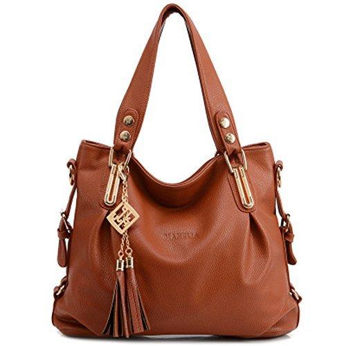 RedSwan Damen Henkeltaschen Tote Handtasche Umhängetasche PU Leder Taschen Damen Shopper Schultertasche (Brown) (Tote-shopper-tasche-handtasche)