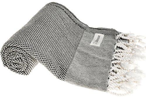 Bersuse 100% Baumwolle - Ventura Türkisches Handtuch - OEKO-TEX zertifiziert - Badestrand Fouta Peshtemal - Klassisches gestreiftes Pestemal - 95 X 175 cm Schwarz (Terry Tie Dye)