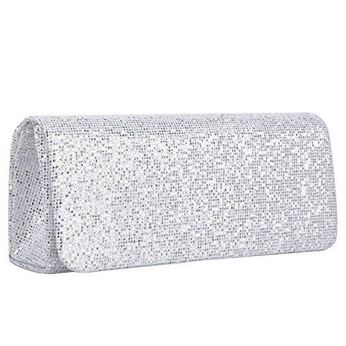 Lifewish Frauen Spark Glitter Abend Clutch Bag, Party Handtasche Braut Geldbörse Hochzeit Tasche Clutch Bag?Silber? Abend Tasche Braut-clutch Geldbörse