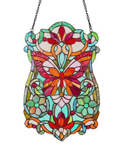 River of Goods 19-Inch Tiffany Style Stained Glass Butterfly Fleurs Window Panel by River of Goods - Butterfly Stained Glass