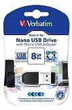Verbatim Nano Chiavetta USB 8 GB, USB 2.0 con MicroUSB, Velocità Lettura 10 MB/s, Velocità Scrittura 3 MB/s, Nero