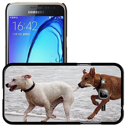 Just Phone Cases Bild Hart Handy Schwarz Schutz Case Cover Schale Etui // M00421764 Hunde Stöckchen zu spielen Beißen Romp // Samsung Galaxy J3 SM-J3109