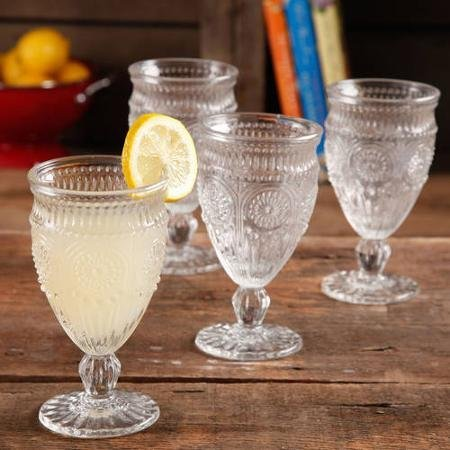 The Pioneer Woman Adeline Embossed 12-Ounce Footed Glass Goblets, Set of 4 (Clear) by The Pioneer Woman Footed Goblet
