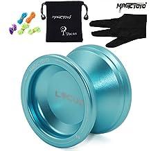 MAGICYOYO V6 LOCUS SPACE Bola Yoyos de metal de aluminio para niños principiantes con guante de bolsa 5 cuerdas azul
