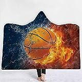 XPY-hooded blanket Addensare la Coperta incappucciata Coperta per Bambini Domestica Scialle Mantello Coperta di Aria condizionata Pelo nappato per Ufficio Pallacanestro, 130 * 150 cm