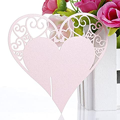 The Cheers 50Pcs Heart Shape Wine Glass Place Cards Wedding Birthday Party Table Decoration (Pink)