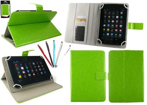 emartbuy Packung mit 5 Doppelfunktion Eingabestift +Universalbereich Grün Multi Winkel Folio Wallet Tasche Etui Hülle Cover mit Kartensteckplätze Geeignet für I.onik TP - 1200QC 7.85 Inch Tablet