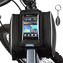 Roswheel Bolso Marco de Bicicleta con Bolsa Transparente y Táctil para Poner adelante o sobre el Tubo de Bici a Prueba de Agua por bolsilla de PVC con Cable de Extensión de Audio o Video para Teléfonos Móviles, Tablet, iPod, MP3, GPS inferior de 5 Inches / 12.7cm, 1.8L Negro