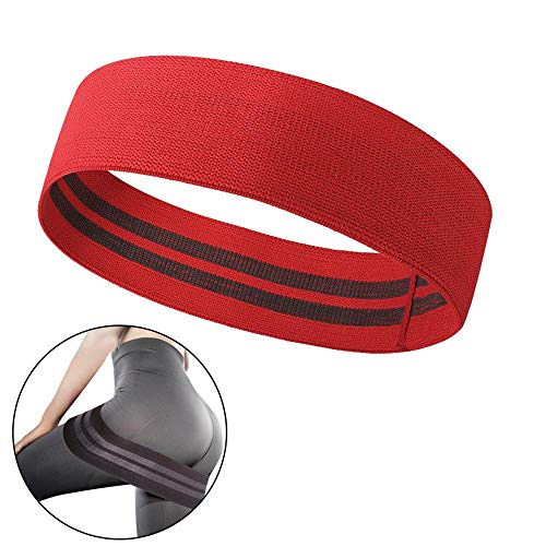 HAMKAW Fabric Exercise Resistance Bands for Legs and Butt, Non-Slip Hip Circle for Workout Fitness Squat Booty Pull Up Bands Loops, Perfect Activate Glutes and Thighs Hip Thruster, Red