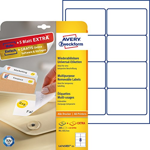 Avery Zweckform L4745REV-25 Etiketten (A4, 200 Plus 40 Universal-Etiketten extra, ablösbar, 96 x 63,5 mm) 30 Blatt weiß (Laserjet-etiketten)