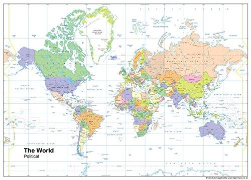 Mundo mapa político–Vinilo–A1tamaño