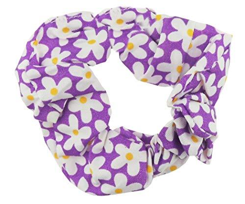 Femmes Filles rétro Daisy Imprimé fleurs d'été Chouchou élastique Cravate