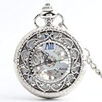 Lekima Pocket Watch Hollow Skeleton Roman Numeral Engraved Flower Sub Dial Clamshell Mechanical Movement Classical Charm Single Alloy Necklace Watch Gift For Men Women - White