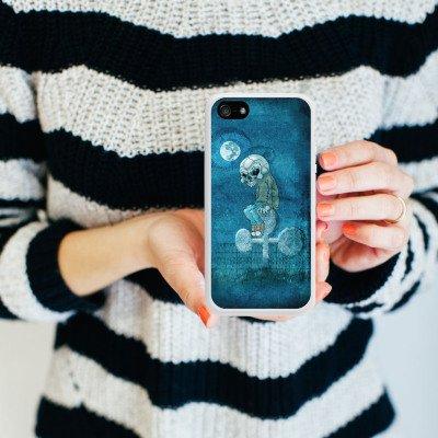 Apple iPhone 5 Housse Étui Silicone Coque Protection Poker Crâne Mort Housse en silicone blanc