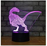 Dinosaure 3D Veilleuse Avec Aa Batterie Table Lampe De Bureau 7 Couleurs 3D Illumination Optique Lumières Salle Ambiance Vente Chaude Nouvelle Vente