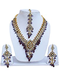 Lucky Jewellery Elegant Purple Color Gold Plated Kundan Necklace Set For Girls & Women