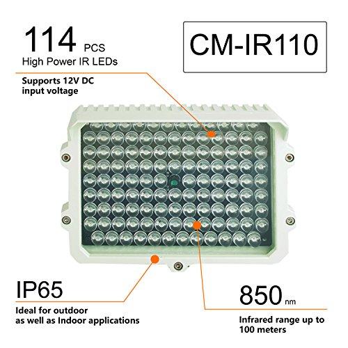 CMVision IR110-114 Infrarotstrahler 12V DC 3A mit großer Reichweite für Innen- und Außenbeleuchtung, 200-300 Fuß (Kein Netzteil) -