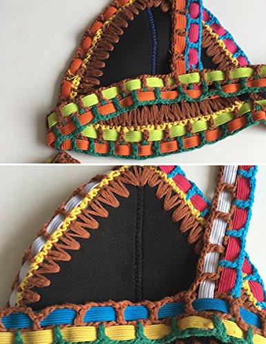 Sitengle Damen Bikini-Sets Handgestrickte Badeanzüge Crochet Neopren Bademode Push up Neon Neopren Farbe Spleiß Bikinis Sport Strandmode Badeanzüge Schwarz
