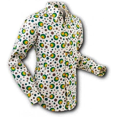 Camicia Dots & Spots Green–Camicia retro anni '70Chena da