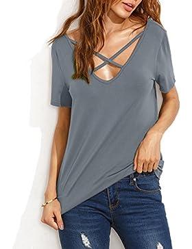 [Sponsorizzato]KUONUO Magliette Donna Estivi Maniche Corte V Scollo in Cotone Giuntura T Shirt Moda Tinta Unita Maglietta Top...