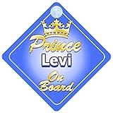 Mybabyonboard uk - Plaque pour voiture personnalisée avec inscription en anglais «Prince Levi On Board» - Bébé/garçon