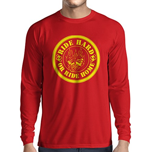 N4688L Camiseta de Manga Larga Ride Hard! Biker Clothing (X-Large Rojo