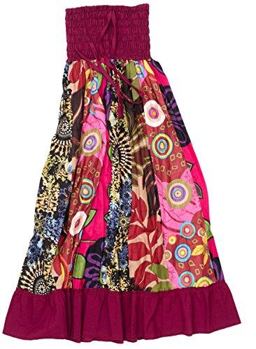 ufash Falda Maxi o Vestido Patchwork con Cinturilla Elástica, Aprox. 100 cms de Largo, Rosa 2