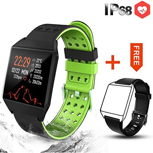 CatShin Fitness Tracker Fitnessuhr-CS04 IP68 Fitness Armband Smartwatch Wasserdicht Armband Sport Uhr Activity Tracker für Damen Herren Schrittzähler Blutdruck Pulsmesser-Android/IOS (Grün)