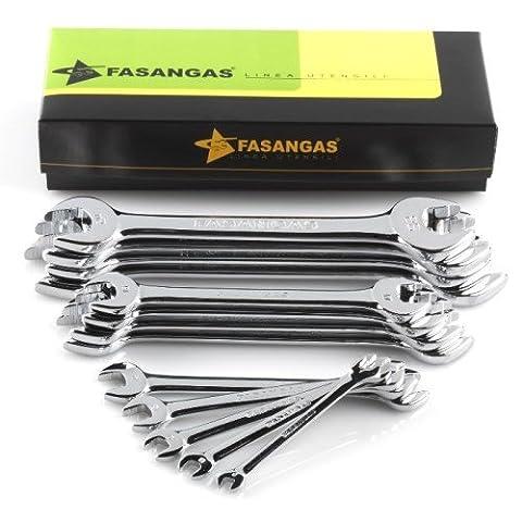 FASANO Tools non Slip double Open End Wrenches Set dans boîte en carton 1, 602/sc13