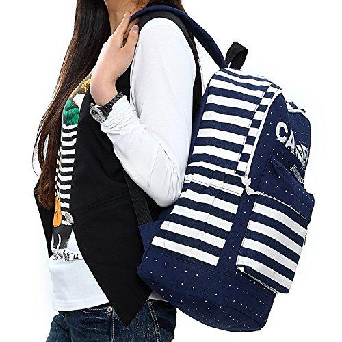 Minetom 2014 Neue Art Und Weise Frischen Streifen Leinwand Schultasche Rucksack Rucksack Kausalen 3 Farben blau