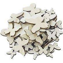 OULII Madera mariposa mixto tamaño recortes madera artesanal regalo adorno para el hogar 50 piezas de decoración de la boda