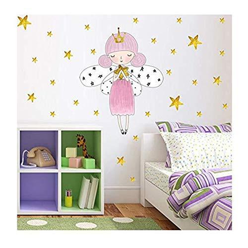 kleber Wandaufkleber Sterne Crown Mädchen Poster Aufkleber Raum Hintergrund Aufkleber Für Kinder Schlafzimmer Diy Wohnkultur ()