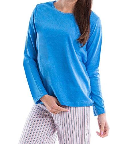 Moonline nightwear - Ensemble de pyjama - À Rayures - Manches Longues - Femme Bleu