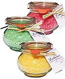 Lashuma Entspannung - Badesalz Set im Glas, Honig - Mandel, Granatapfel und Grüner Tee, Badezusatz Geschenk Totes Meer Salz 3 x 250 g